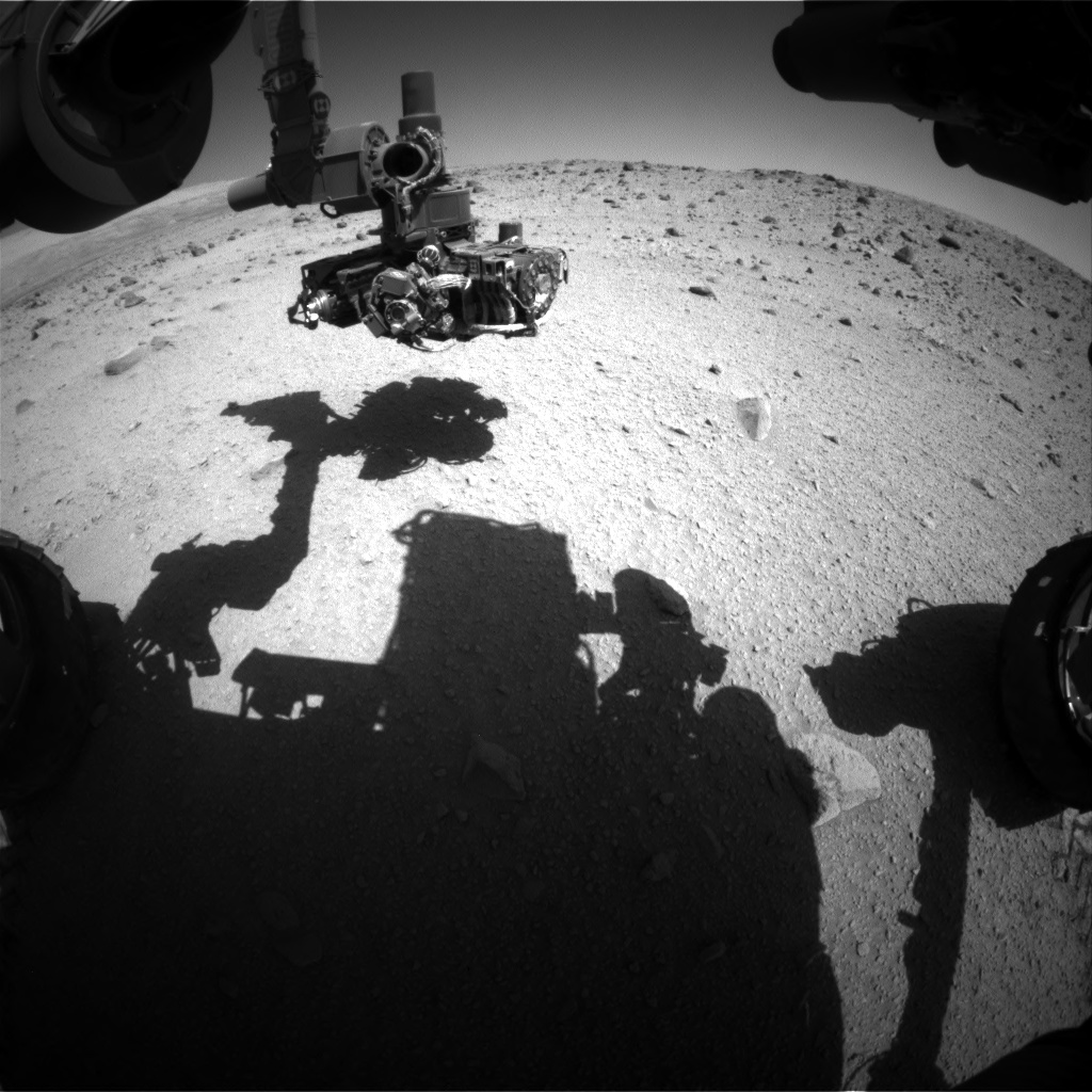 Nasa's Mars rover Curiosity acquired this image using its Front Hazard Avoidance Camera (Front Hazcam) on Sol 521, at drive 1250, site number 25