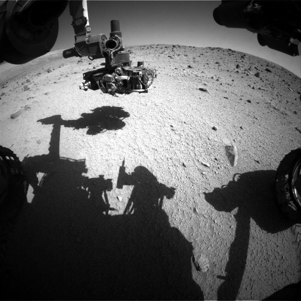 Nasa's Mars rover Curiosity acquired this image using its Front Hazard Avoidance Camera (Front Hazcam) on Sol 521, at drive 1262, site number 25