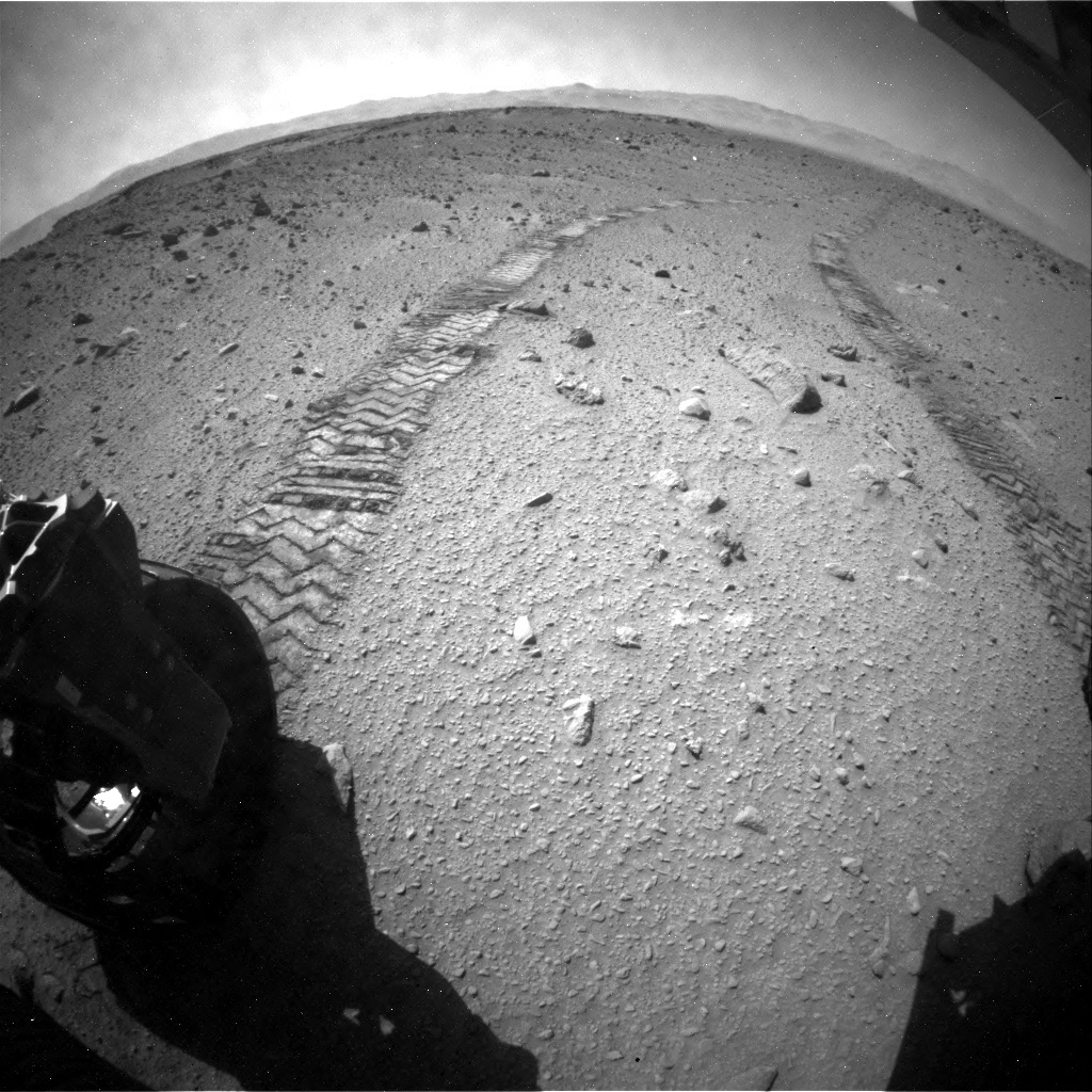 NASA's Mars rover Curiosity acquired this image using its Rear Hazard Avoidance Cameras (Rear Hazcams) on Sol 521