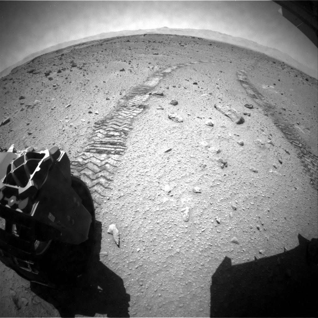 NASA's Mars rover Curiosity acquired this image using its Rear Hazard Avoidance Cameras (Rear Hazcams) on Sol 523
