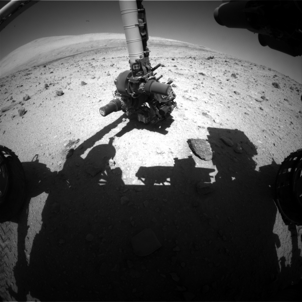Nasa's Mars rover Curiosity acquired this image using its Front Hazard Avoidance Camera (Front Hazcam) on Sol 524, at drive 1296, site number 25