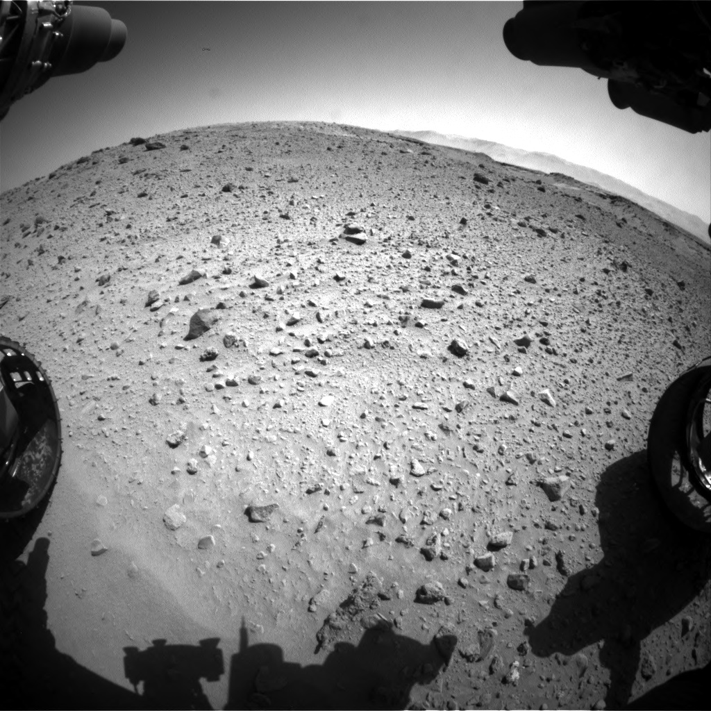 Nasa's Mars rover Curiosity acquired this image using its Front Hazard Avoidance Camera (Front Hazcam) on Sol 524, at drive 1420, site number 25
