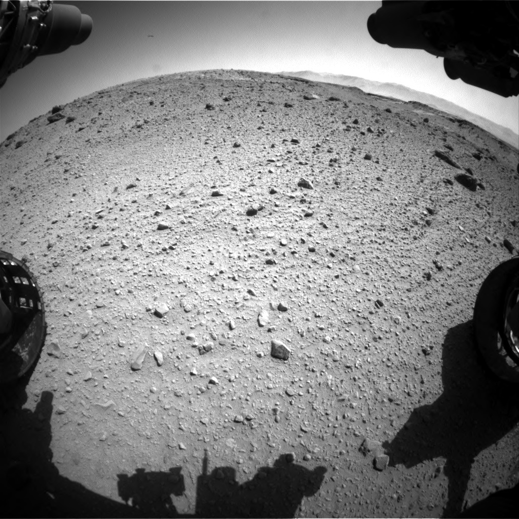 Nasa's Mars rover Curiosity acquired this image using its Front Hazard Avoidance Camera (Front Hazcam) on Sol 524, at drive 1450, site number 25