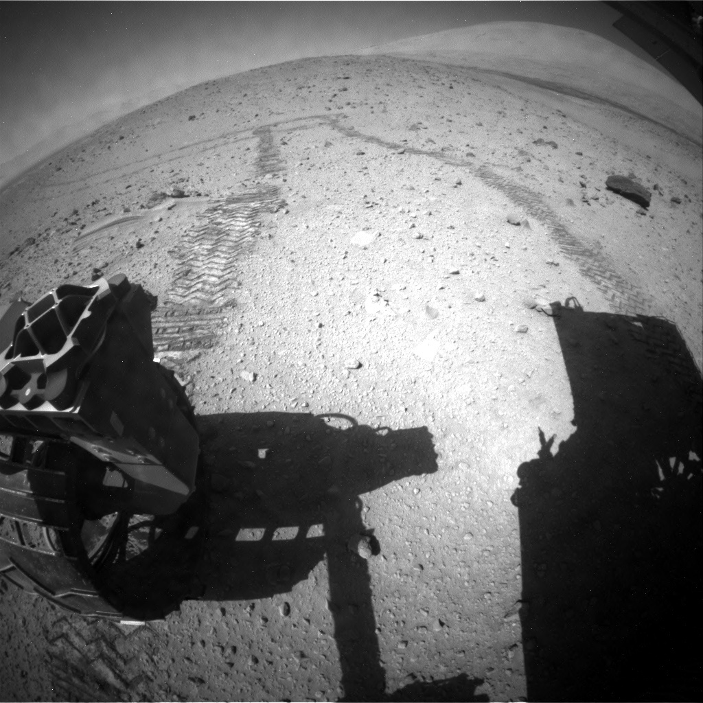 NASA's Mars rover Curiosity acquired this image using its Rear Hazard Avoidance Cameras (Rear Hazcams) on Sol 524