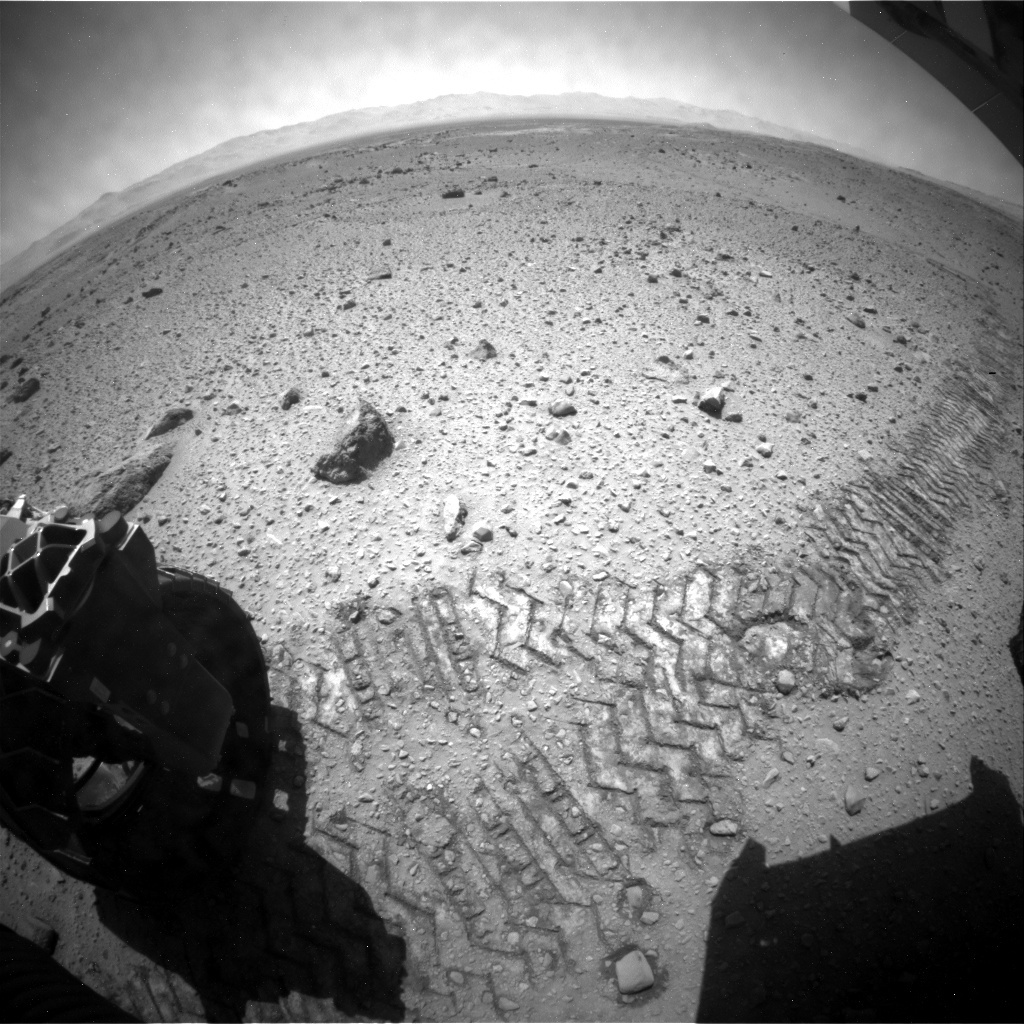 NASA's Mars rover Curiosity acquired this image using its Rear Hazard Avoidance Cameras (Rear Hazcams) on Sol 525