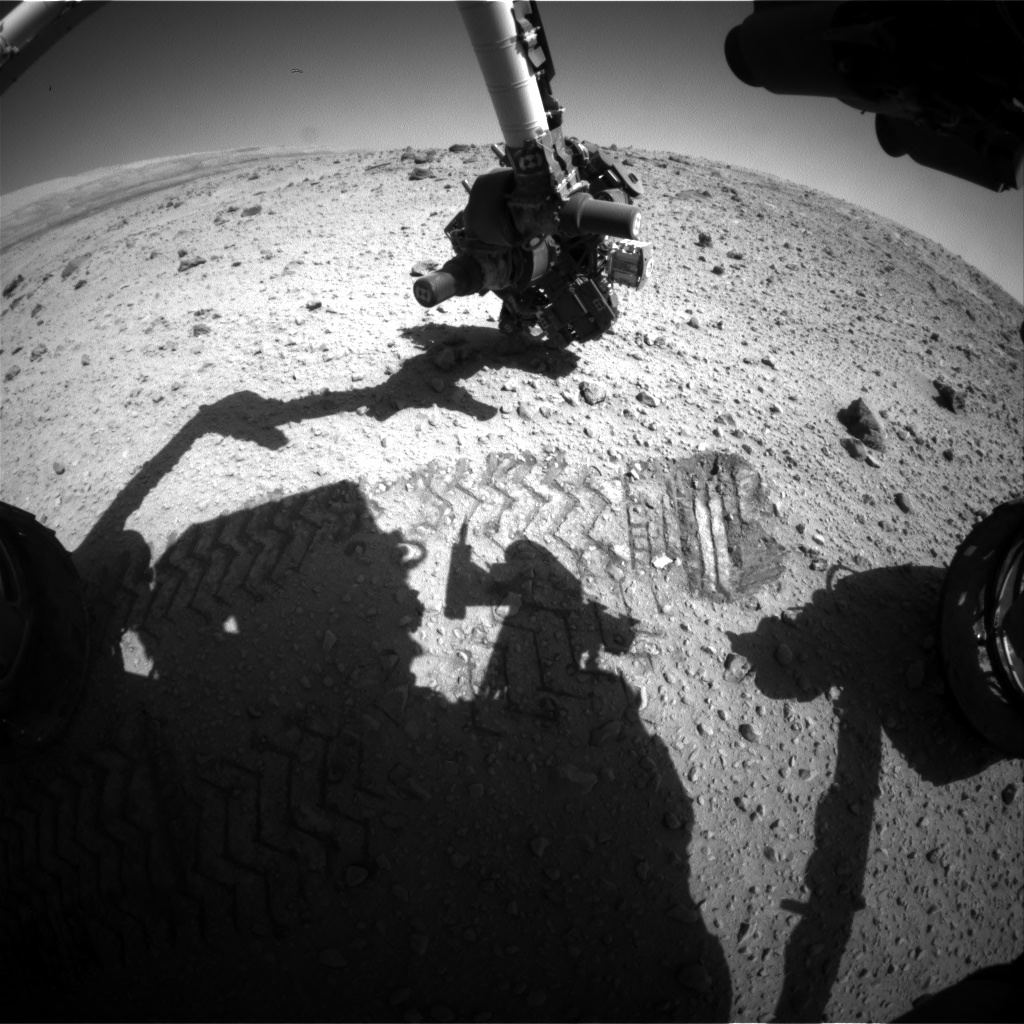 Nasa's Mars rover Curiosity acquired this image using its Front Hazard Avoidance Camera (Front Hazcam) on Sol 526, at drive 1496, site number 25