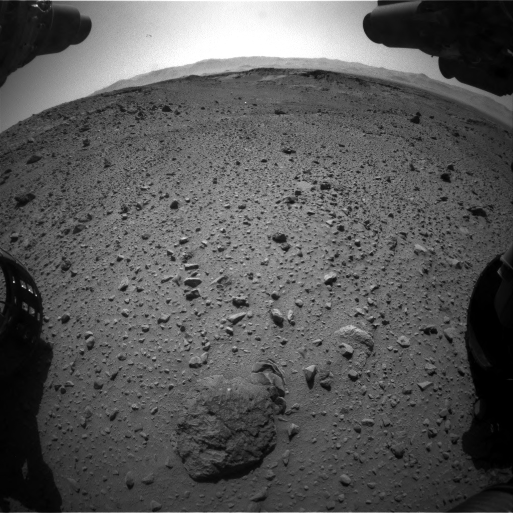 Nasa's Mars rover Curiosity acquired this image using its Front Hazard Avoidance Camera (Front Hazcam) on Sol 526, at drive 1556, site number 25