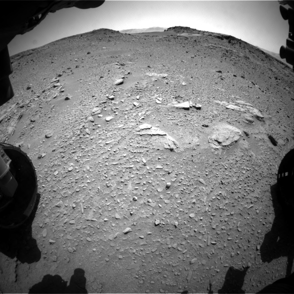 Nasa's Mars rover Curiosity acquired this image using its Front Hazard Avoidance Camera (Front Hazcam) on Sol 527, at drive 1776, site number 25