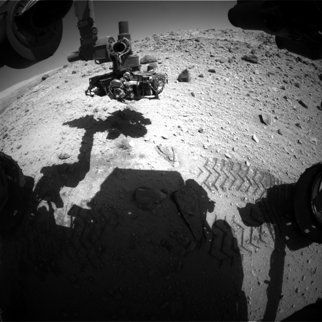 Nasa's Mars rover Curiosity acquired this image using its Front Hazard Avoidance Camera (Front Hazcam) on Sol 527, at drive 1638, site number 25