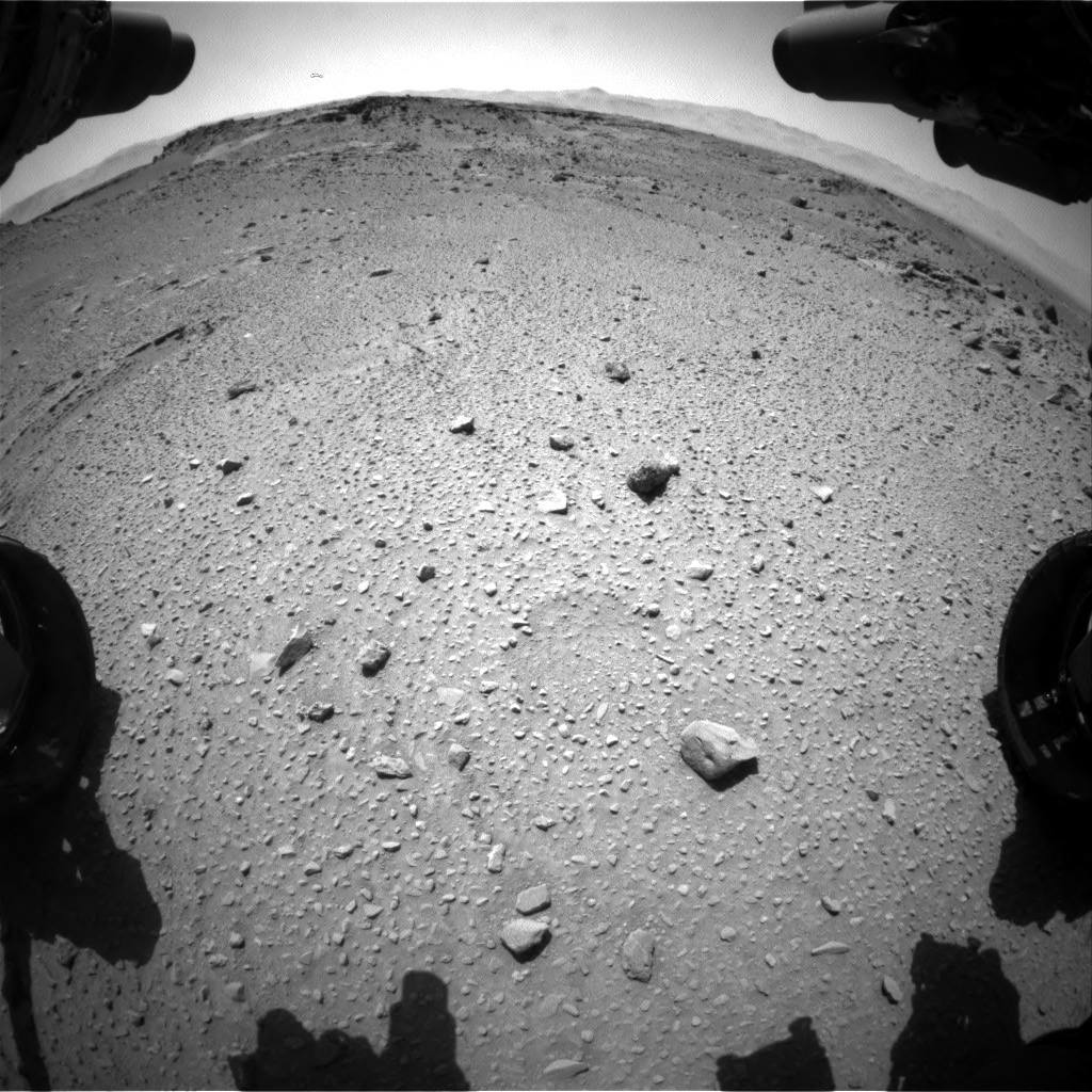 Nasa's Mars rover Curiosity acquired this image using its Front Hazard Avoidance Camera (Front Hazcam) on Sol 527, at drive 1734, site number 25