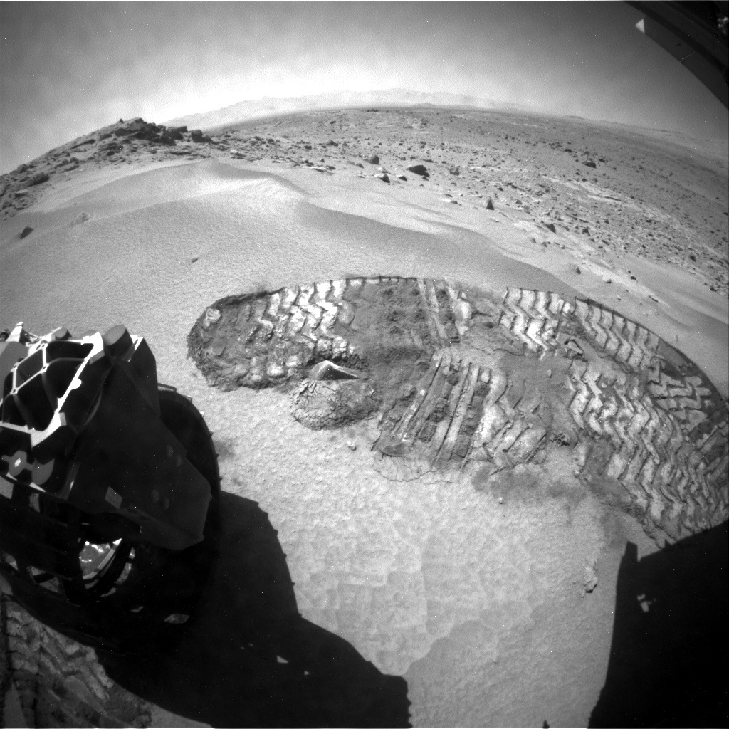 NASA's Mars rover Curiosity acquired this image using its Rear Hazard Avoidance Cameras (Rear Hazcams) on Sol 529