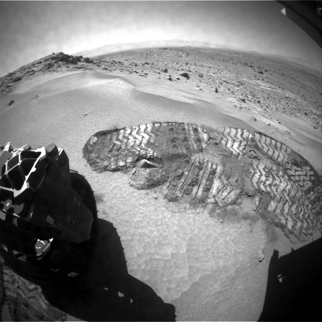 NASA's Mars rover Curiosity acquired this image using its Rear Hazard Avoidance Cameras (Rear Hazcams) on Sol 530