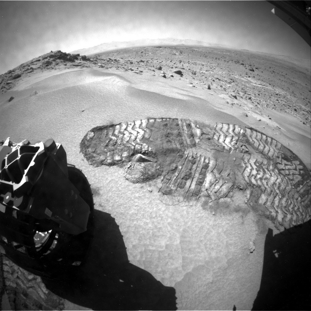 NASA's Mars rover Curiosity acquired this image using its Rear Hazard Avoidance Cameras (Rear Hazcams) on Sol 531