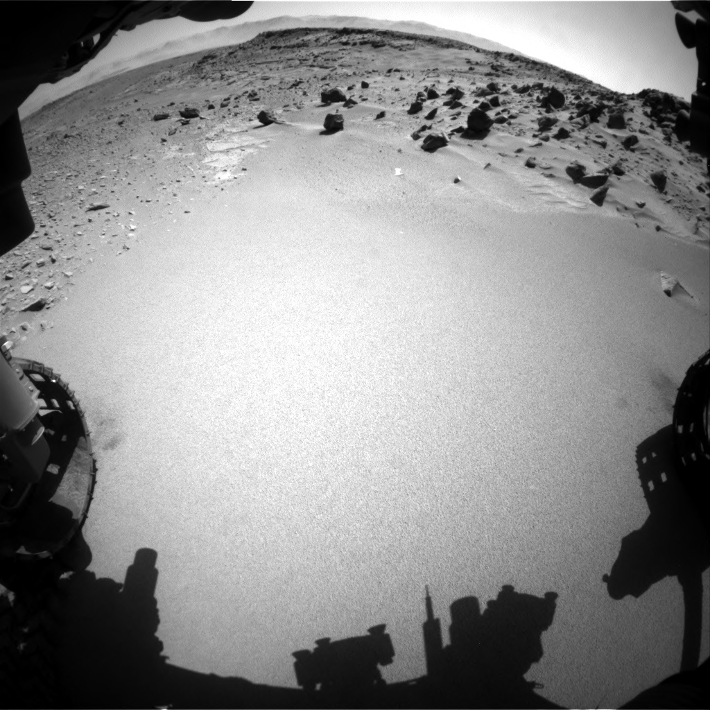 Nasa's Mars rover Curiosity acquired this image using its Front Hazard Avoidance Camera (Front Hazcam) on Sol 535, at drive 308, site number 26