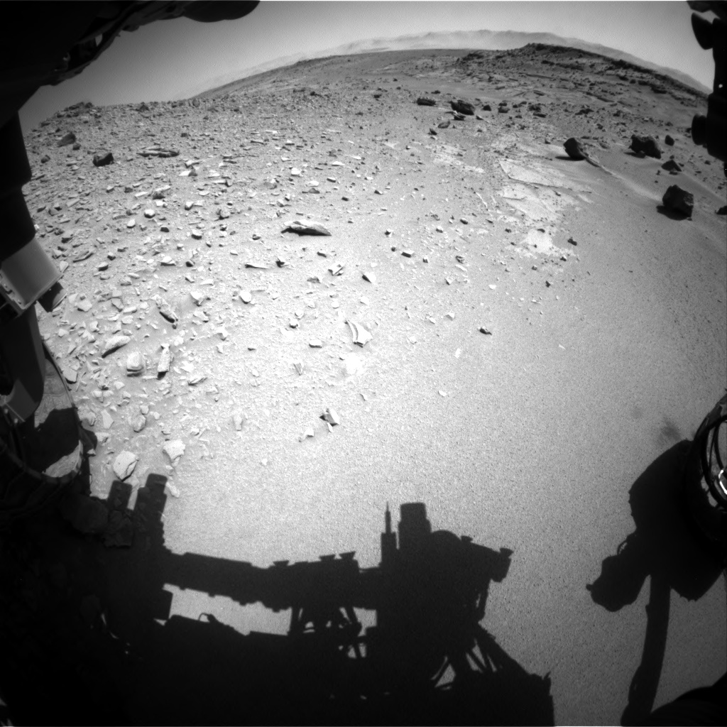 Nasa's Mars rover Curiosity acquired this image using its Front Hazard Avoidance Camera (Front Hazcam) on Sol 535, at drive 332, site number 26