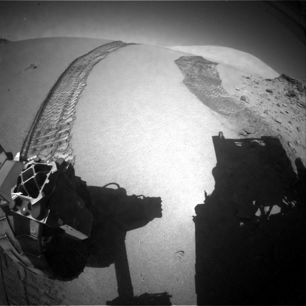 NASA's Mars rover Curiosity acquired this image using its Rear Hazard Avoidance Cameras (Rear Hazcams) on Sol 535