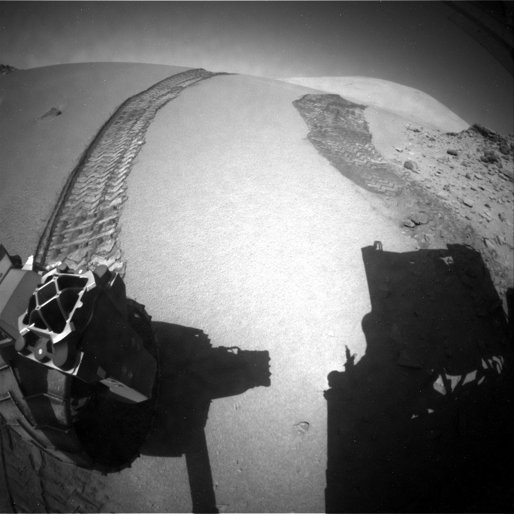 NASA's Mars rover Curiosity acquired this image using its Rear Hazard Avoidance Cameras (Rear Hazcams) on Sol 537