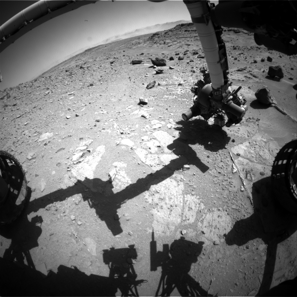 Nasa's Mars rover Curiosity acquired this image using its Front Hazard Avoidance Camera (Front Hazcam) on Sol 538, at drive 366, site number 26