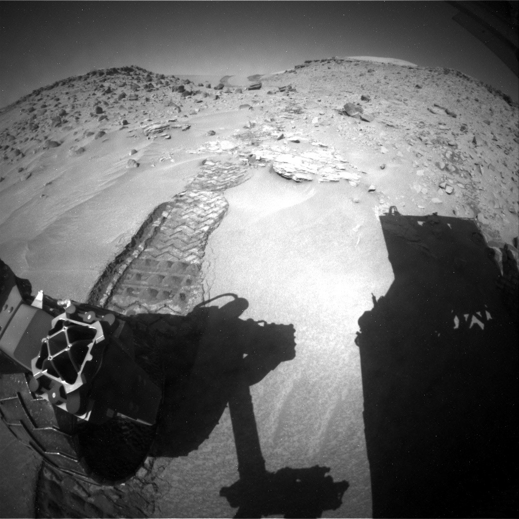 NASA's Mars rover Curiosity acquired this image using its Rear Hazard Avoidance Cameras (Rear Hazcams) on Sol 538