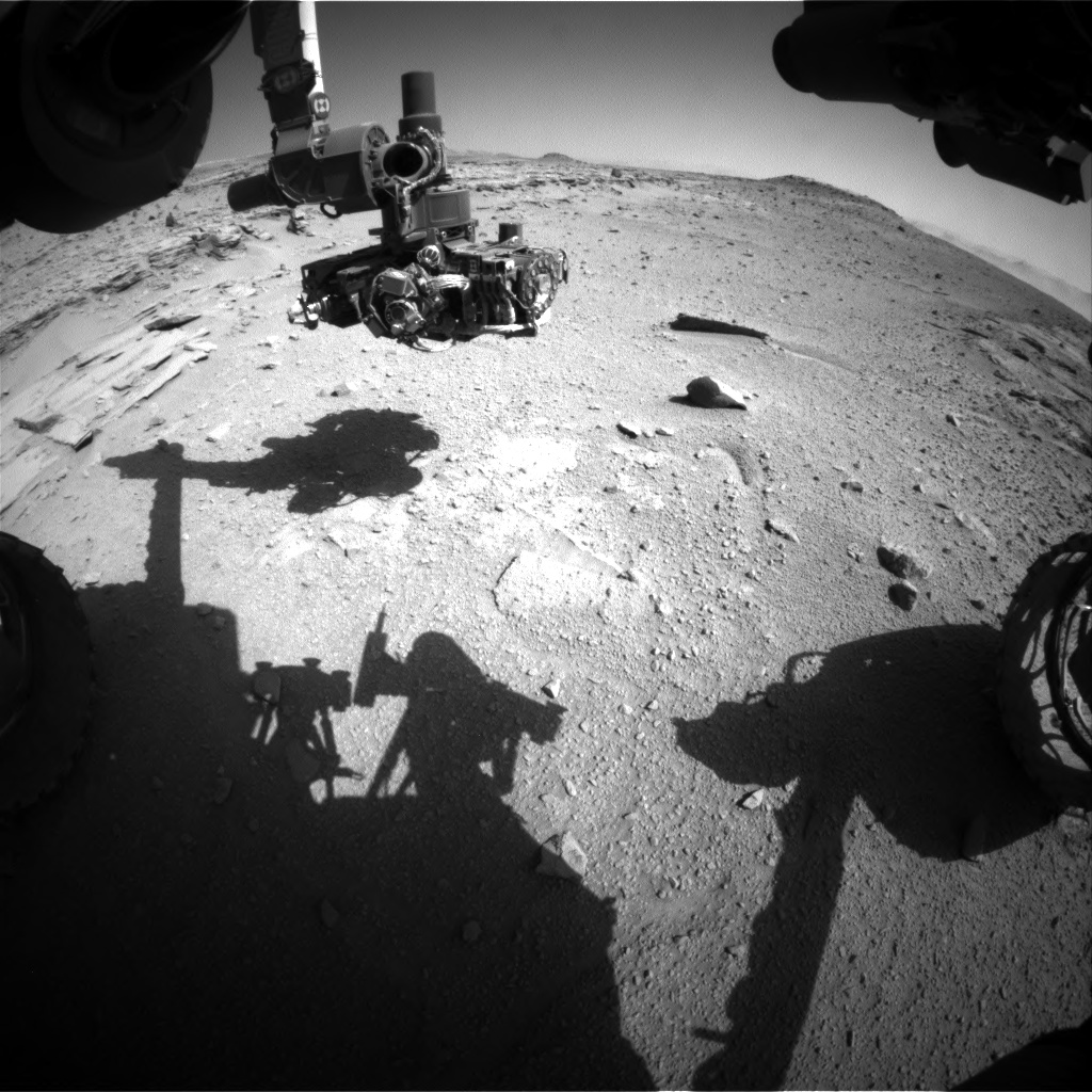 Nasa's Mars rover Curiosity acquired this image using its Front Hazard Avoidance Camera (Front Hazcam) on Sol 540, at drive 708, site number 26