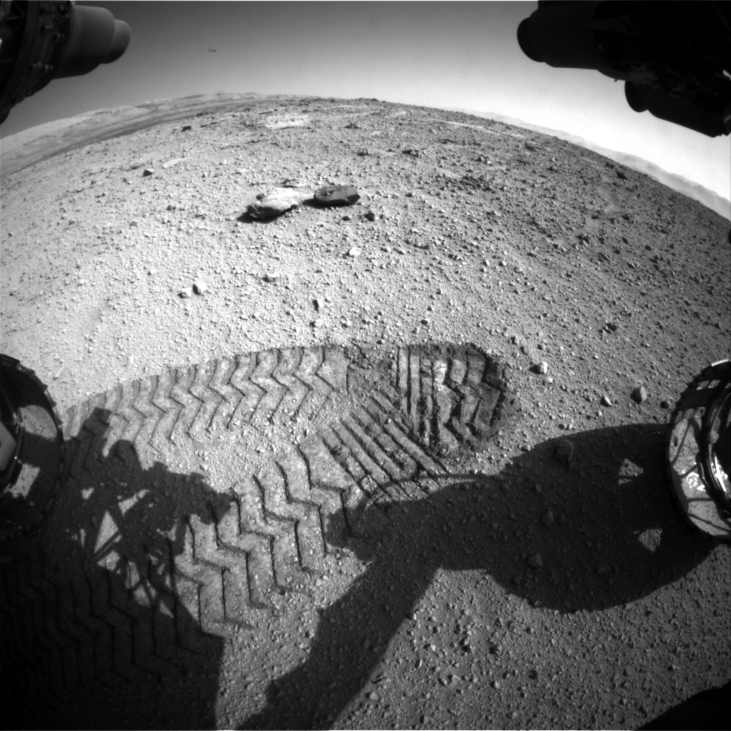Nasa's Mars rover Curiosity acquired this image using its Front Hazard Avoidance Camera (Front Hazcam) on Sol 541, at drive 1102, site number 26