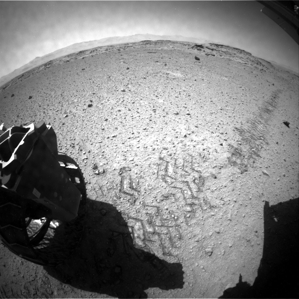 NASA's Mars rover Curiosity acquired this image using its Rear Hazard Avoidance Cameras (Rear Hazcams) on Sol 542