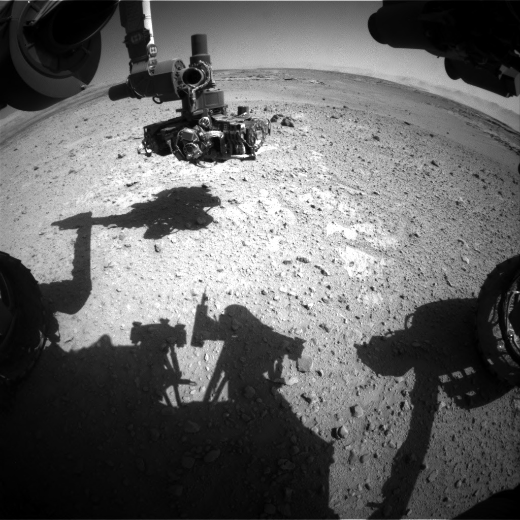 Nasa's Mars rover Curiosity acquired this image using its Front Hazard Avoidance Camera (Front Hazcam) on Sol 546, at drive 18, site number 27