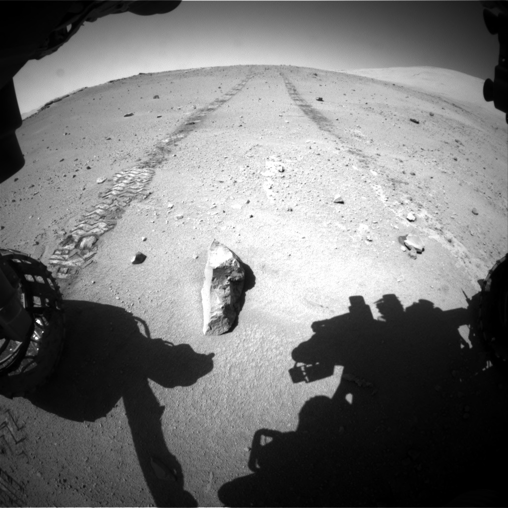 Nasa's Mars rover Curiosity acquired this image using its Front Hazard Avoidance Camera (Front Hazcam) on Sol 547, at drive 240, site number 27
