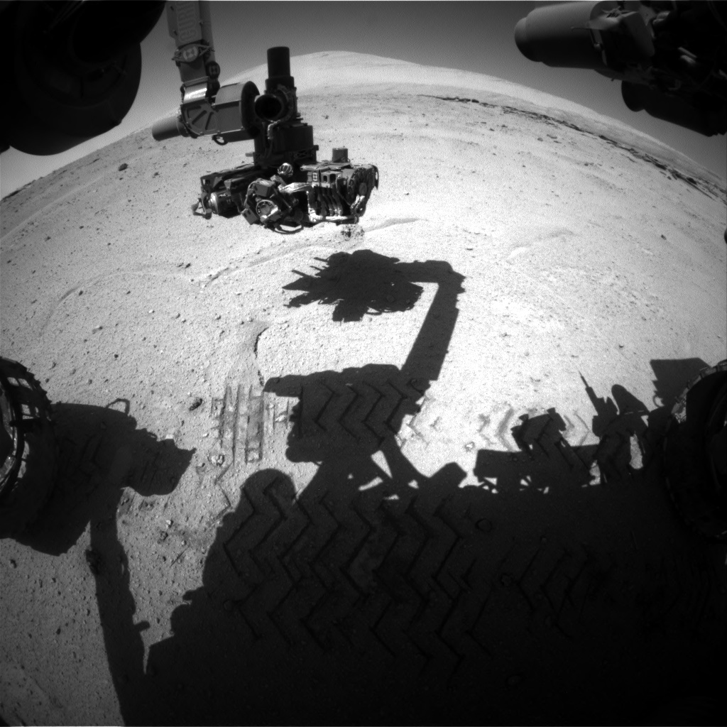 Nasa's Mars rover Curiosity acquired this image using its Front Hazard Avoidance Camera (Front Hazcam) on Sol 548, at drive 520, site number 27