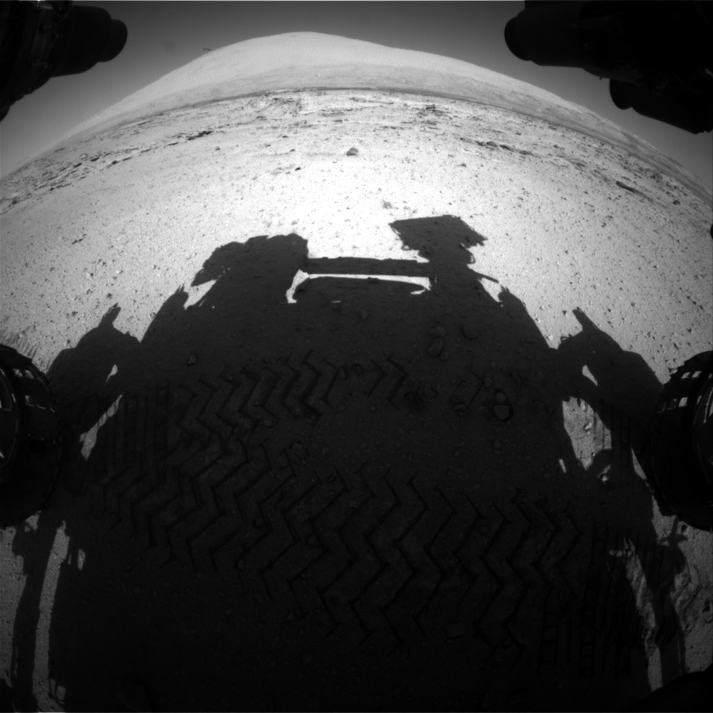 Nasa's Mars rover Curiosity acquired this image using its Front Hazard Avoidance Camera (Front Hazcam) on Sol 548, at drive 968, site number 27