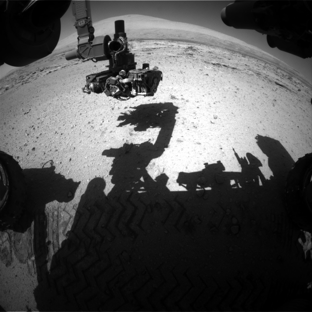 Nasa's Mars rover Curiosity acquired this image using its Front Hazard Avoidance Camera (Front Hazcam) on Sol 549, at drive 974, site number 27
