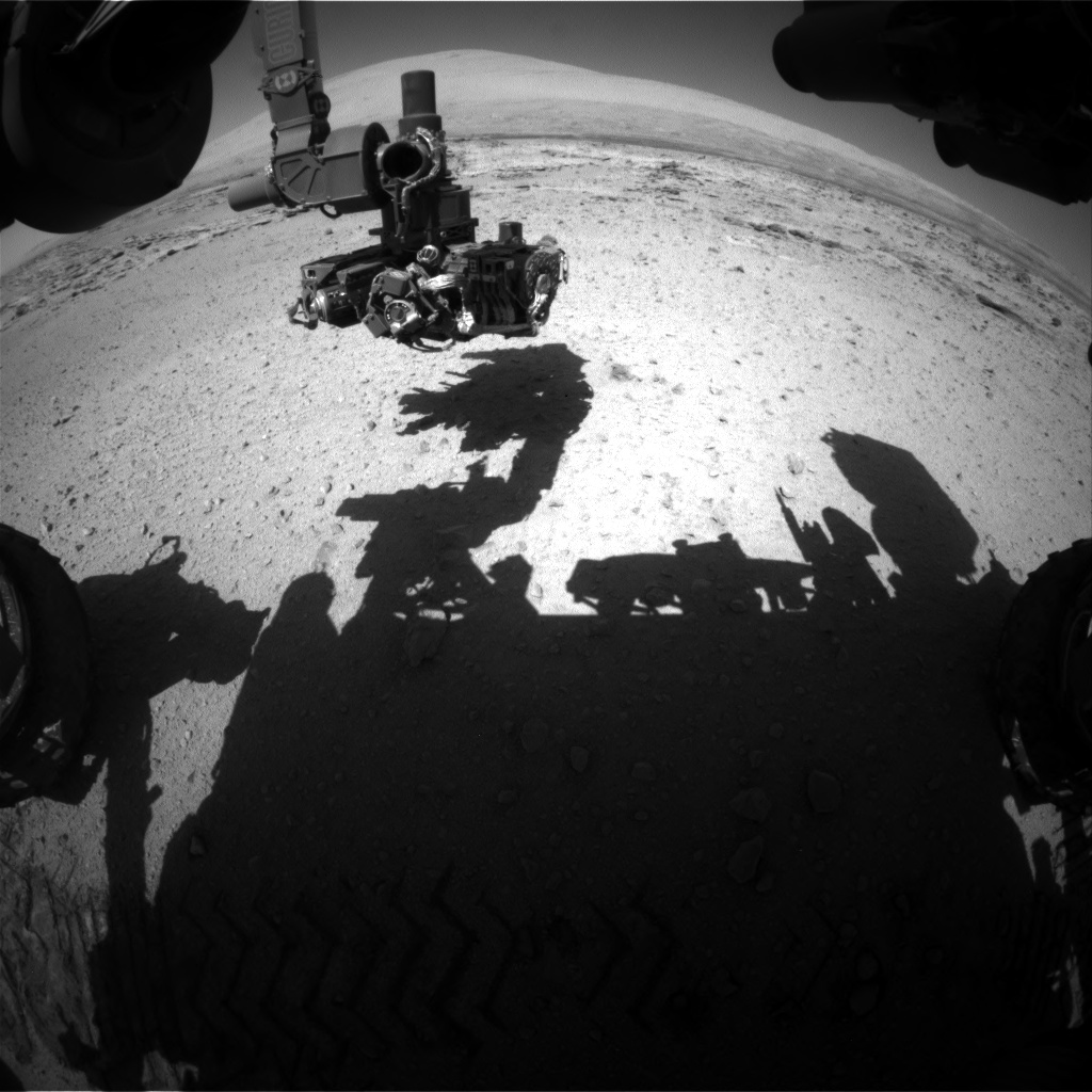 Nasa's Mars rover Curiosity acquired this image using its Front Hazard Avoidance Camera (Front Hazcam) on Sol 549, at drive 980, site number 27