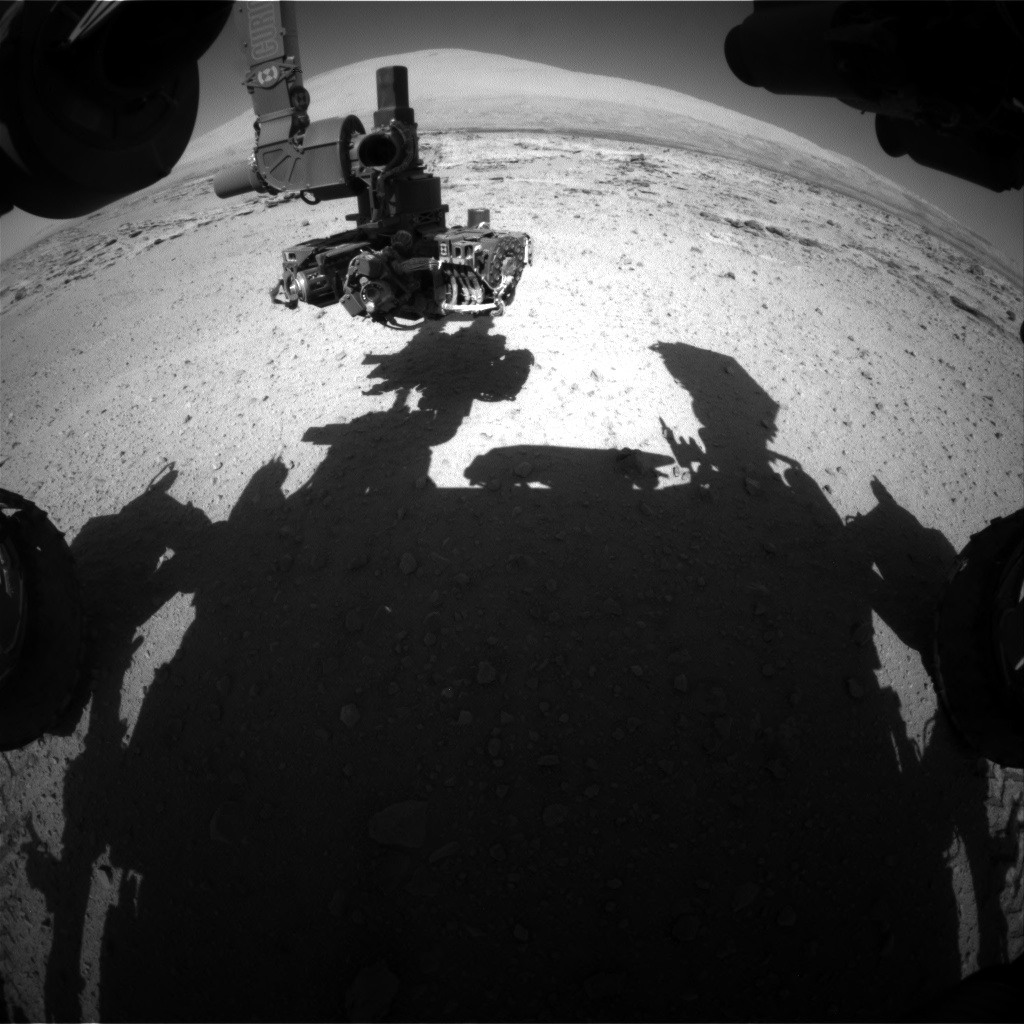 Nasa's Mars rover Curiosity acquired this image using its Front Hazard Avoidance Camera (Front Hazcam) on Sol 549, at drive 992, site number 27