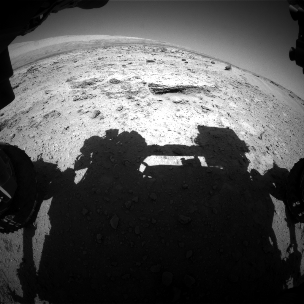 Nasa's Mars rover Curiosity acquired this image using its Front Hazard Avoidance Camera (Front Hazcam) on Sol 550, at drive 1004, site number 27