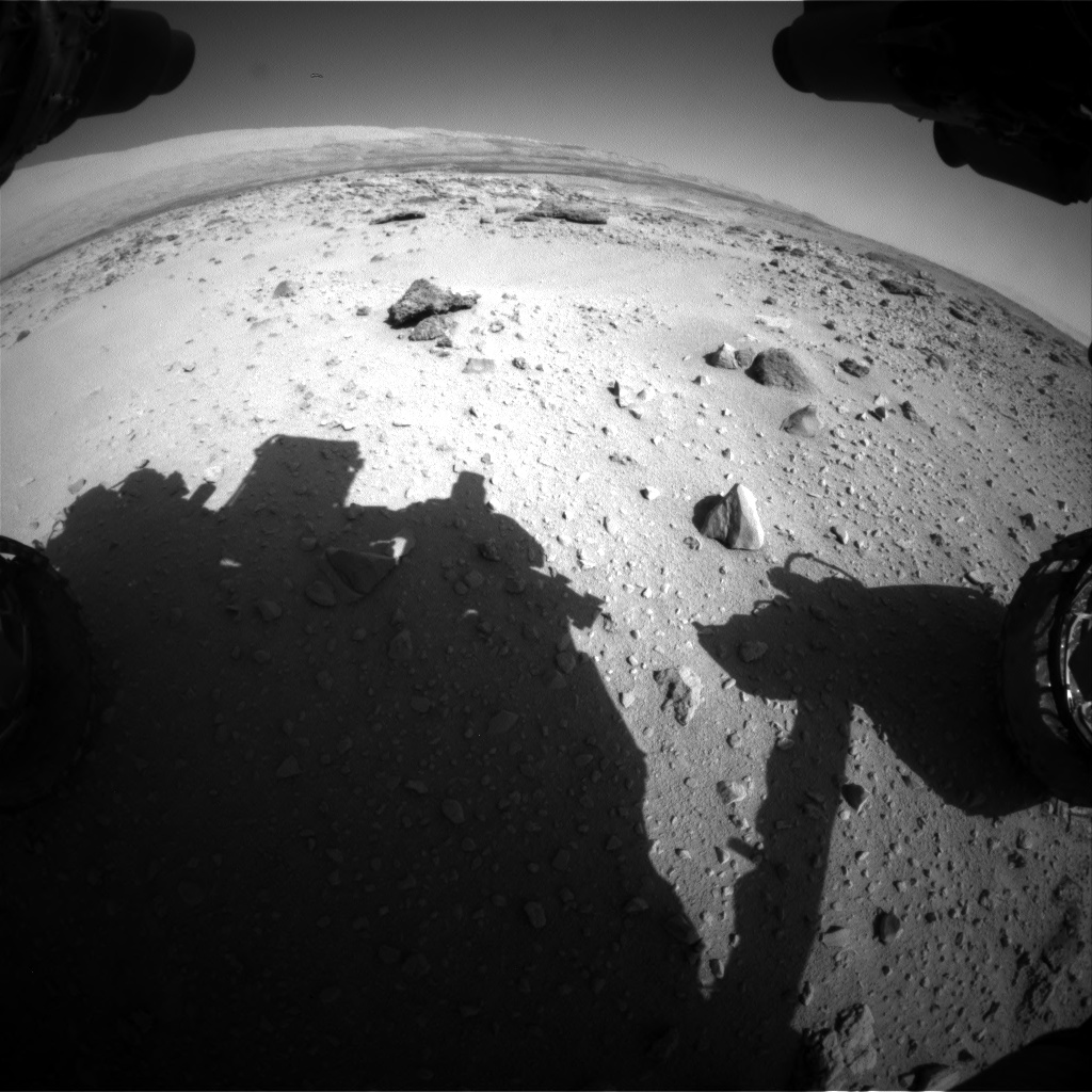 Nasa's Mars rover Curiosity acquired this image using its Front Hazard Avoidance Camera (Front Hazcam) on Sol 550, at drive 1124, site number 27