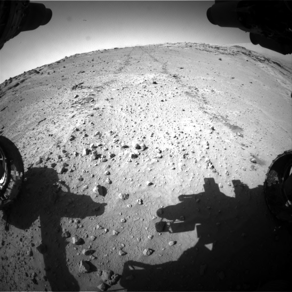 Nasa's Mars rover Curiosity acquired this image using its Front Hazard Avoidance Camera (Front Hazcam) on Sol 552, at drive 1418, site number 27
