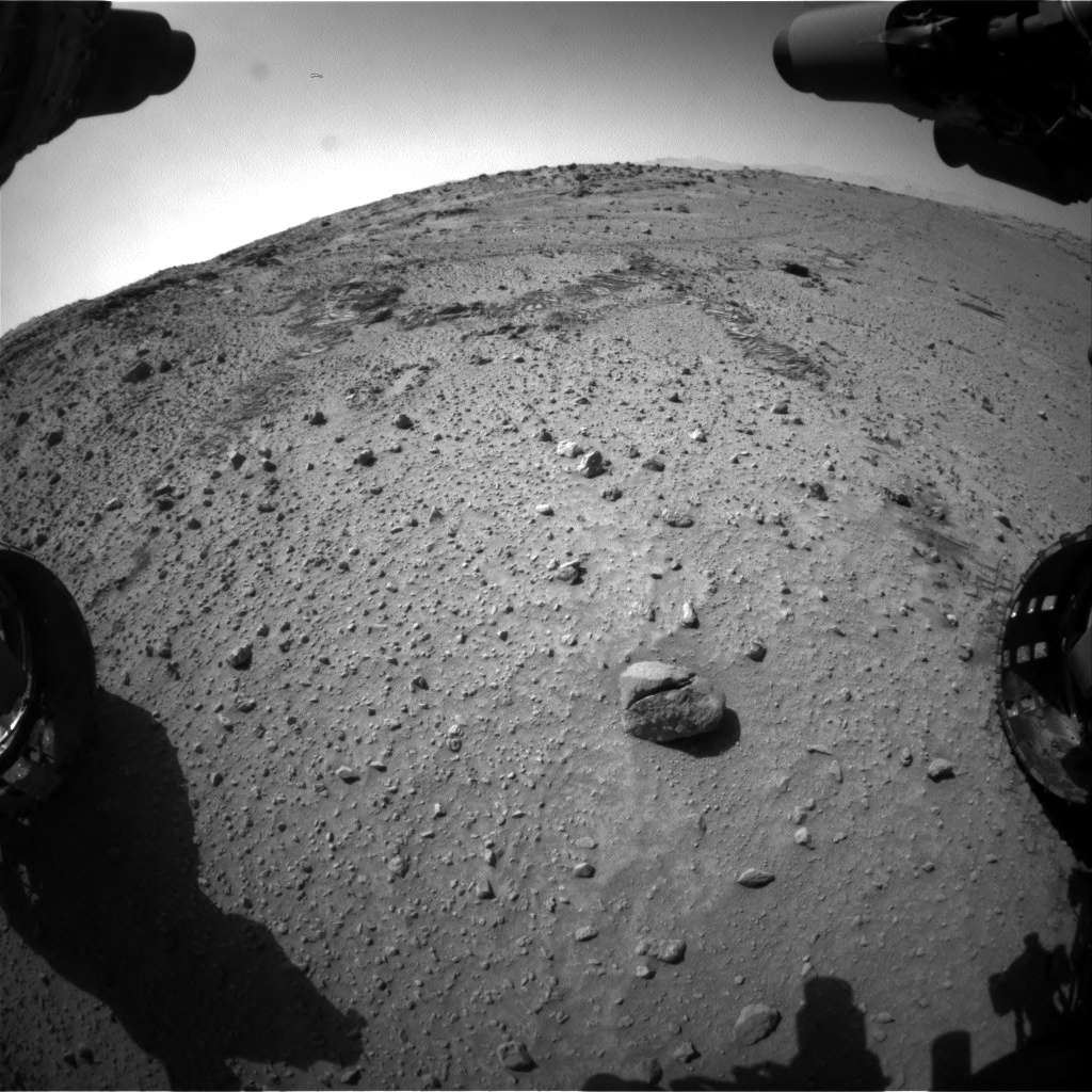 Nasa's Mars rover Curiosity acquired this image using its Front Hazard Avoidance Camera (Front Hazcam) on Sol 553, at drive 36, site number 28