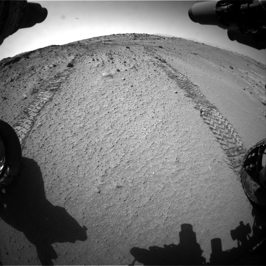 Nasa's Mars rover Curiosity acquired this image using its Front Hazard Avoidance Camera (Front Hazcam) on Sol 553, at drive 66, site number 28