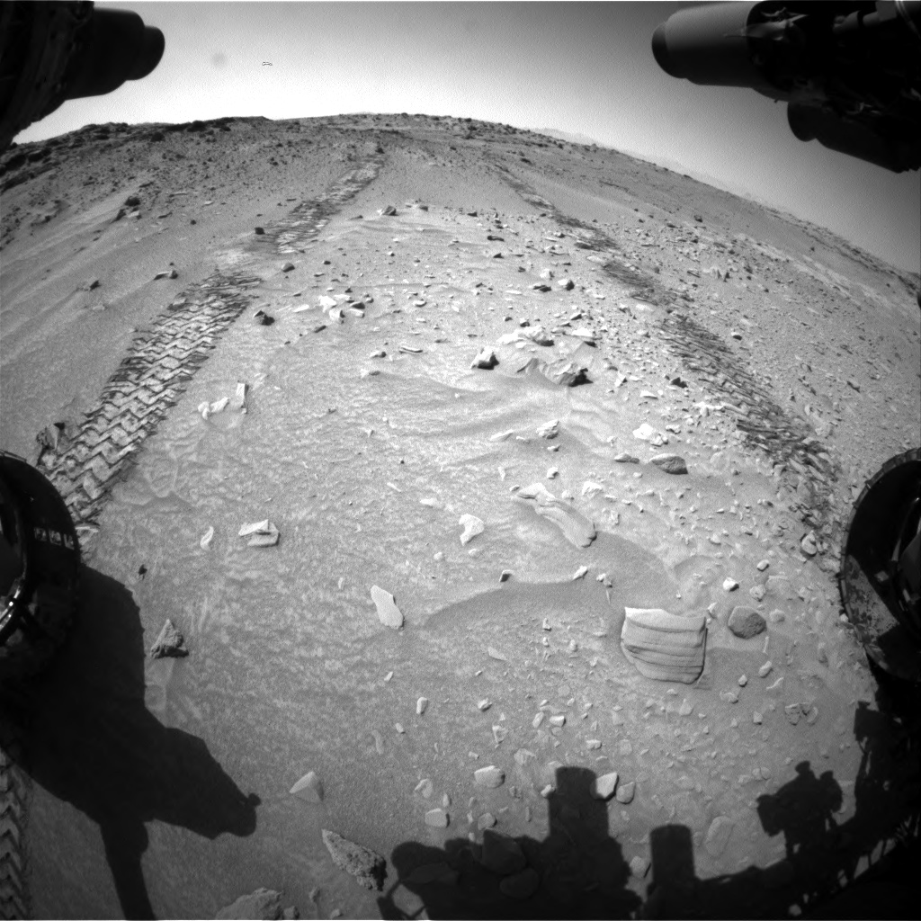 Nasa's Mars rover Curiosity acquired this image using its Front Hazard Avoidance Camera (Front Hazcam) on Sol 553, at drive 96, site number 28