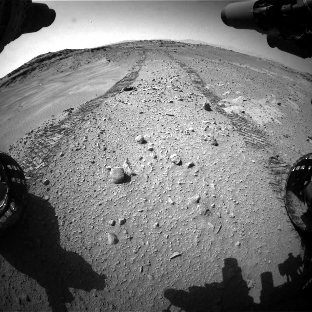 Nasa's Mars rover Curiosity acquired this image using its Front Hazard Avoidance Camera (Front Hazcam) on Sol 553, at drive 132, site number 28