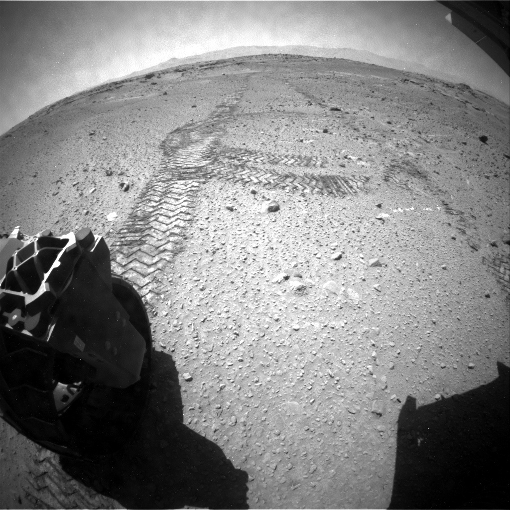 NASA's Mars rover Curiosity acquired this image using its Rear Hazard Avoidance Cameras (Rear Hazcams) on Sol 554