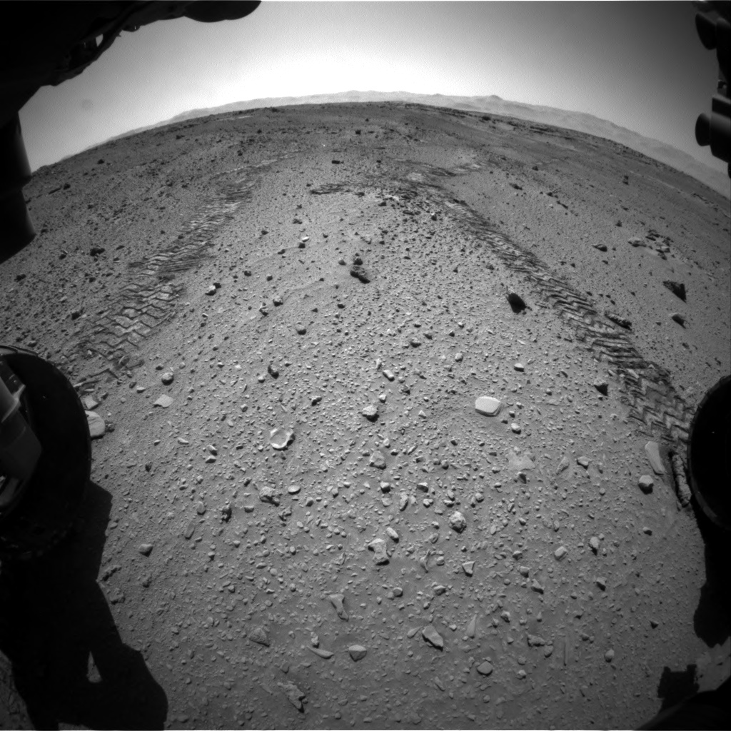 Nasa's Mars rover Curiosity acquired this image using its Front Hazard Avoidance Camera (Front Hazcam) on Sol 555, at drive 472, site number 28