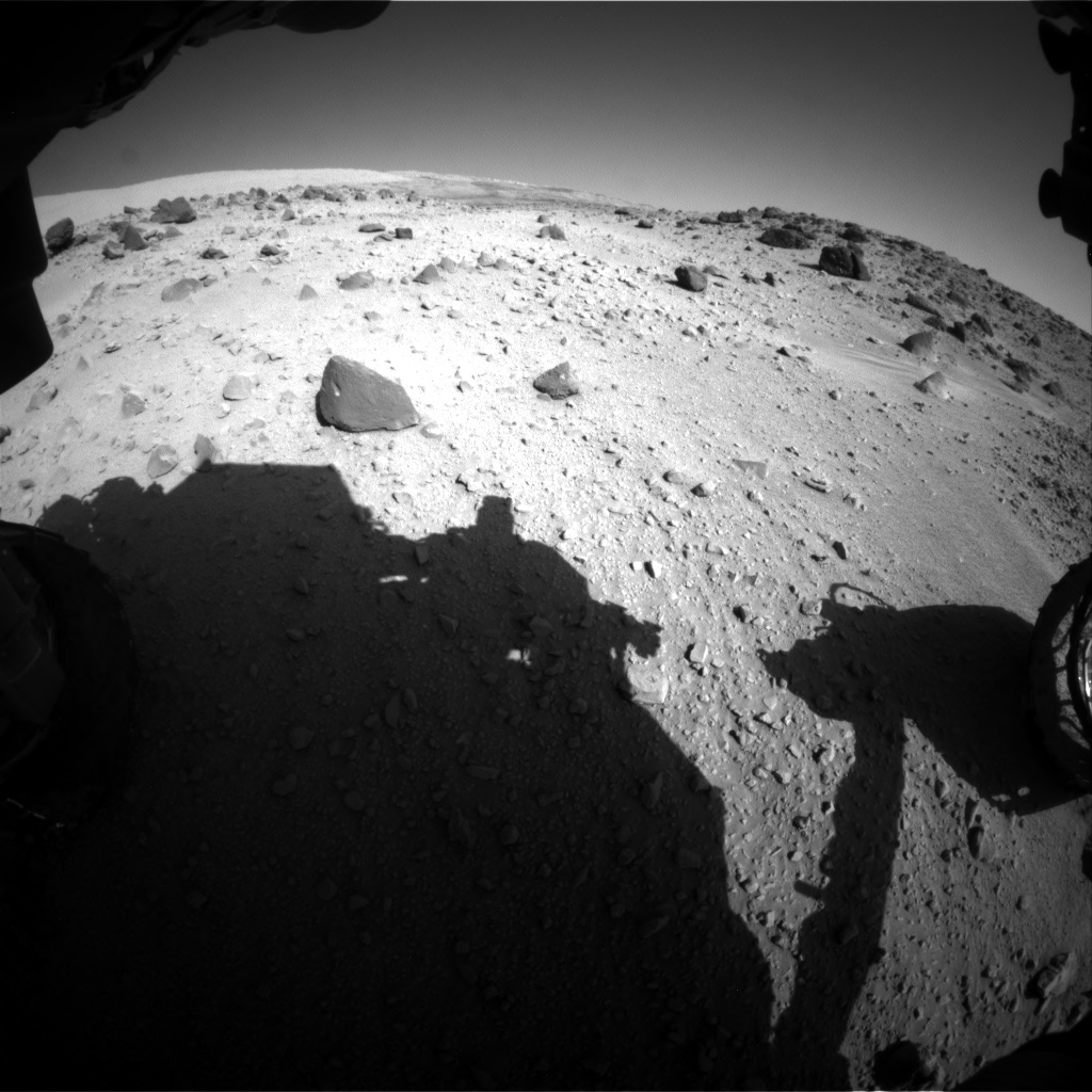 Nasa's Mars rover Curiosity acquired this image using its Front Hazard Avoidance Camera (Front Hazcam) on Sol 555, at drive 574, site number 28