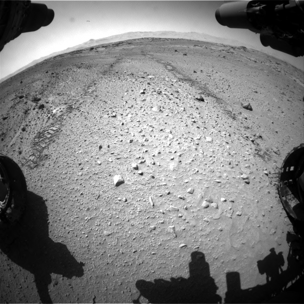 Nasa's Mars rover Curiosity acquired this image using its Front Hazard Avoidance Camera (Front Hazcam) on Sol 555, at drive 400, site number 28