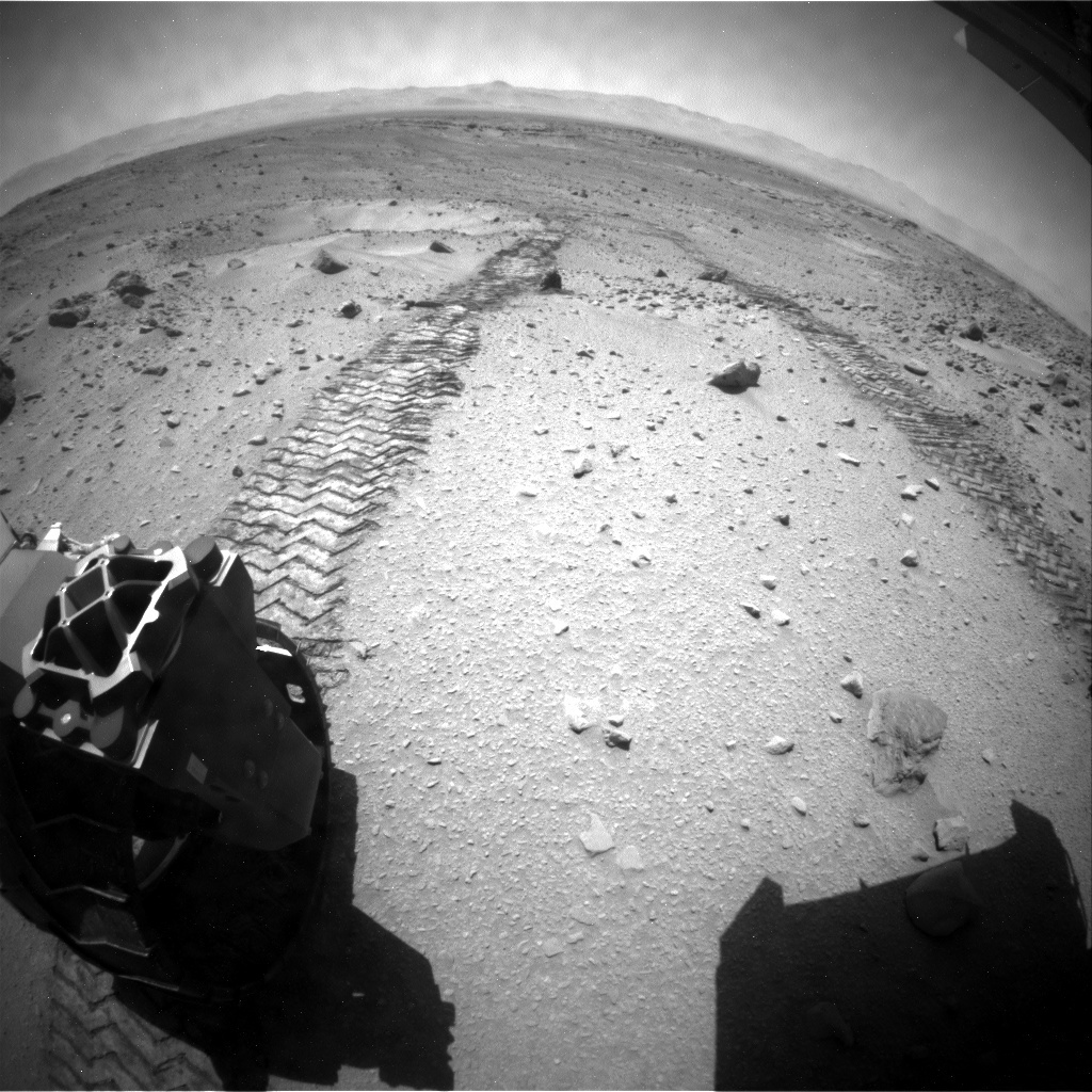 NASA's Mars rover Curiosity acquired this image using its Rear Hazard Avoidance Cameras (Rear Hazcams) on Sol 558