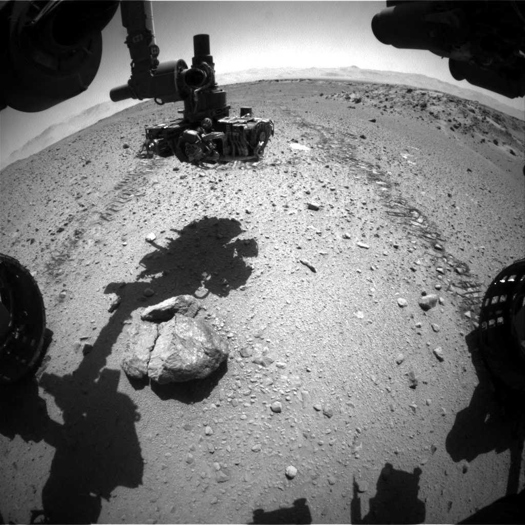 Nasa's Mars rover Curiosity acquired this image using its Front Hazard Avoidance Camera (Front Hazcam) on Sol 569, at drive 1020, site number 29
