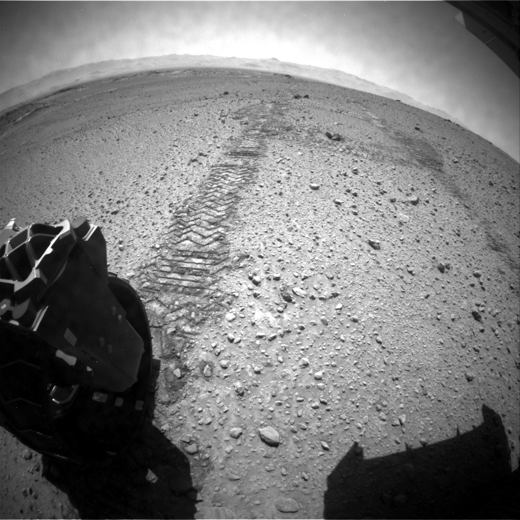 NASA's Mars rover Curiosity acquired this image using its Rear Hazard Avoidance Cameras (Rear Hazcams) on Sol 575