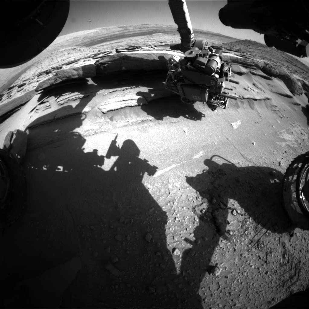 Nasa's Mars rover Curiosity acquired this image using its Front Hazard Avoidance Camera (Front Hazcam) on Sol 584, at drive 786, site number 30