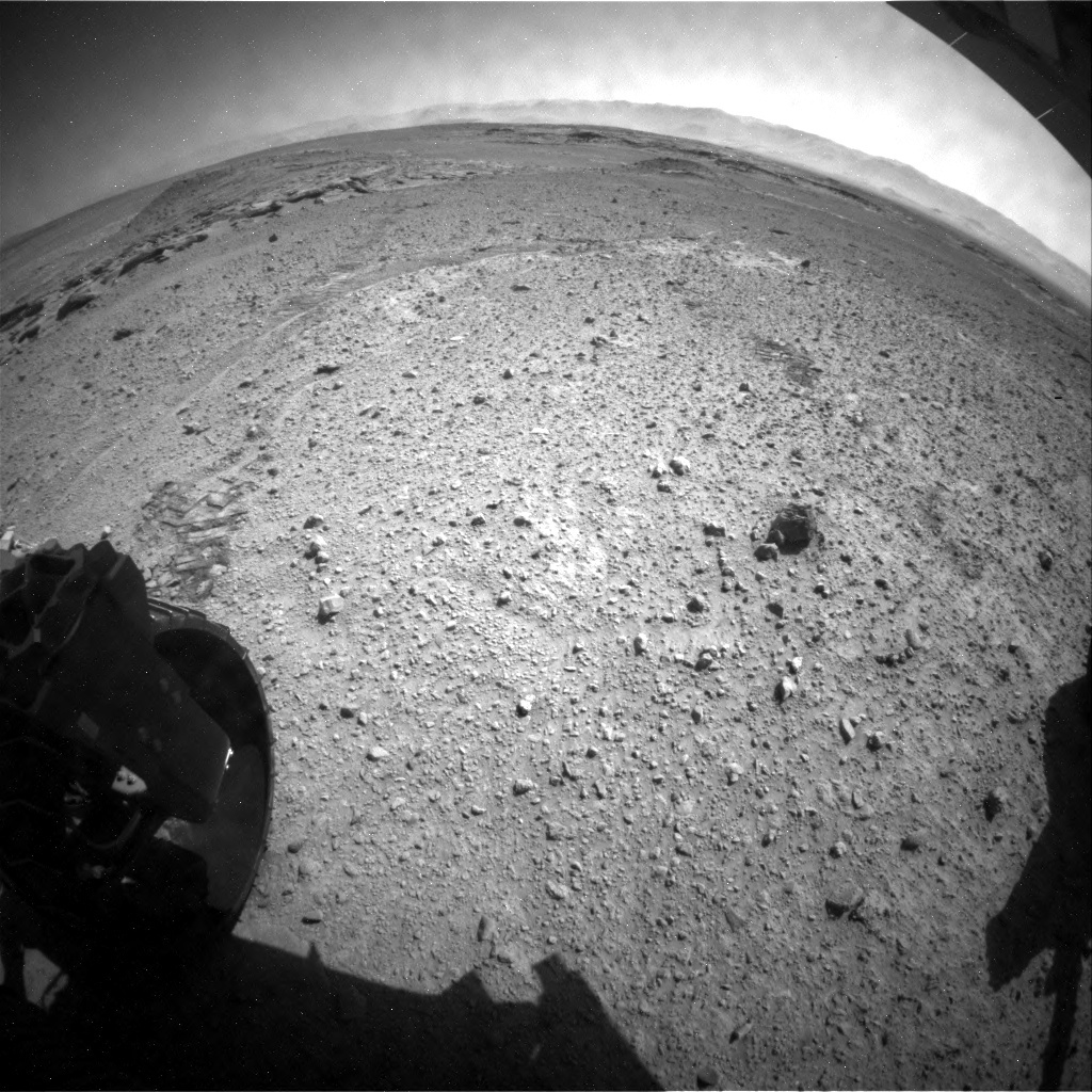 NASA's Mars rover Curiosity acquired this image using its Rear Hazard Avoidance Cameras (Rear Hazcams) on Sol 587
