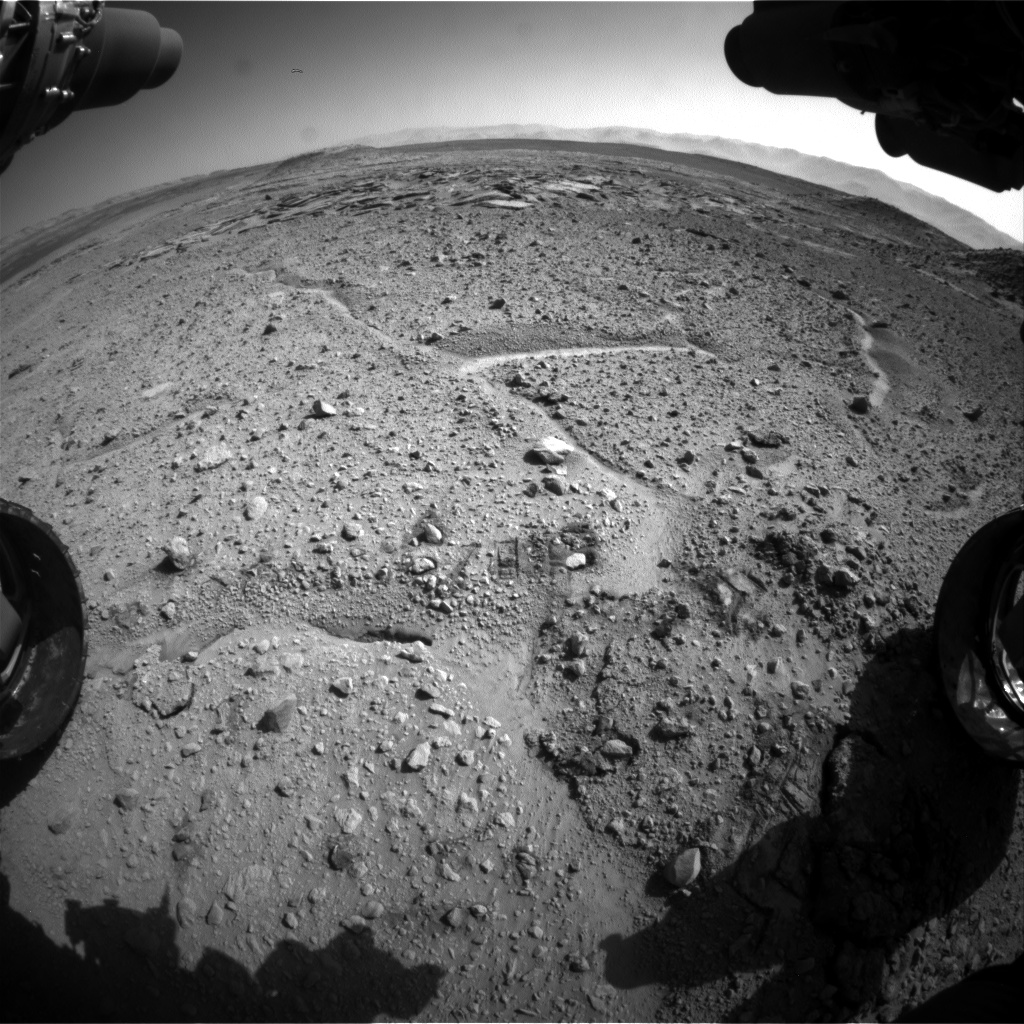 Nasa's Mars rover Curiosity acquired this image using its Front Hazard Avoidance Camera (Front Hazcam) on Sol 589, at drive 0, site number 31
